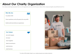 Charity Pitch Deck About Our Charity Organization Infographics PDF