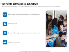 Charity Pitch Deck Benefits Offered To Charities Introduction PDF