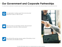 Charity Pitch Deck Our Government And Corporate Partnerships Graphics PDF
