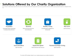 Charity Pitch Deck Solutions Offered By Our Charity Organization Introduction PDF