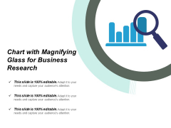 Chart With Magnifying Glass For Business Research Ppt PowerPoint Presentation Inspiration Shapes
