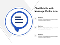 Chat Bubble With Message Vector Icon Ppt PowerPoint Presentation Gallery Infographic Template PDF