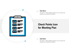 Check Points Icon For Meeting Plan Ppt PowerPoint Presentation Icon Samples PDF
