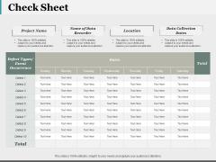 Check Sheet Ppt PowerPoint Presentation Ideas Mockup