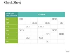 Check Sheet Ppt PowerPoint Presentation Layout