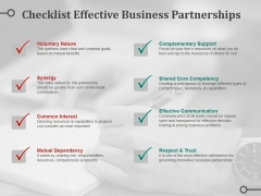 Checklist Effective Business Partnerships Ppt PowerPoint Presentation File Design Inspiration