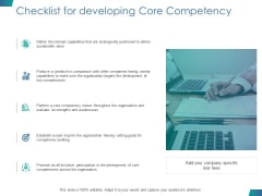 Checklist For Developing Core Competency Ppt PowerPoint Presentation Gallery Graphics Pictures