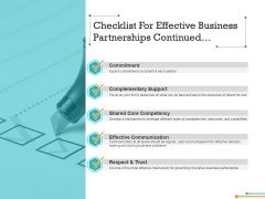 Checklist For Effective Business Partnerships Continued Ppt Powerpoint Presentation Model Layout Ideas