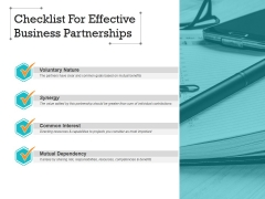 Checklist For Effective Business Partnerships Ppt Powerpoint Presentation Infographic Template Structure