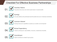 Checklist For Effective Business Partnerships Template 1 Ppt PowerPoint Presentation Portfolio Guide