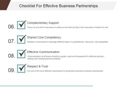 Checklist For Effective Business Partnerships Template 2 Ppt PowerPoint Presentation Infographic Template Graphics