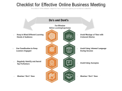 Checklist For Effective Online Business Meeting Ppt PowerPoint Presentation Styles Aids PDF
