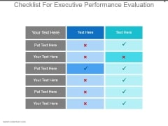 Checklist For Executive Performance Evaluation Good Ppt Example
