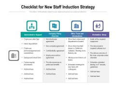 Checklist For New Staff Induction Strategy Ppt PowerPoint Presentation File Slide Download PDF