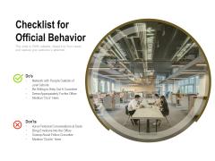 Checklist For Official Behavior Ppt PowerPoint Presentation Ideas Brochure PDF