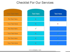 Checklist For Our Services Ppt PowerPoint Presentation Gallery Themes
