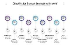 Checklist For Startup Business With Icons Ppt PowerPoint Presentation Visual Aids Infographic Template