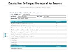 Checklist Form For Company Orientation Of New Employee Ppt PowerPoint Presentation File Styles PDF