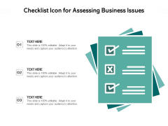 Checklist Icon For Assessing Business Issues Ppt PowerPoint Presentation File Layouts PDF