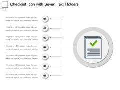 Checklist Icon With Seven Text Holders Ppt PowerPoint Presentation Slides Mockup PDF