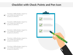 Checklist With Check Points And Pen Icon Ppt PowerPoint Presentation Summary Objects PDF
