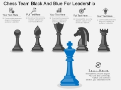Chess Team Black And Blue For Leadership Powerpoint Template
