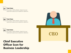 Chief Executive Officer Icon For Business Leadership Ppt PowerPoint Presentation Infographics Template PDF