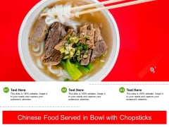 Chinese Food Served In Bowl With Chopsticks Ppt PowerPoint Presentation Gallery Show PDF