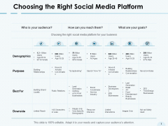 Choosing The Right Social Media Platform Demographics Ppt PowerPoint Presentation Icon Graphics Tutorials
