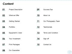 Cinematography Project Proposal Content Ppt File Slide Portrait PDF
