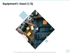 Cinematography Project Proposal Equipments Used Camera Ppt Icon Elements PDF