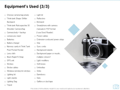 Cinematography Project Proposal Equipments Used Gels Ppt Ideas Show PDF