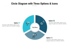 Circle Diagram With Three Options And Icons Ppt PowerPoint Presentation Pictures Visuals