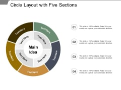 Circle Layout With Five Sections Ppt PowerPoint Presentation Icon Styles