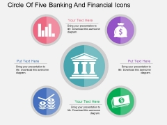 Circle Of Five Banking And Financial Icons Powerpoint Template