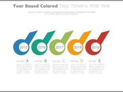 Circle Tags Timeline Diagram With Years Powerpoint Slides