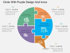 Circle With Puzzle Design And Icons Powerpoint Template