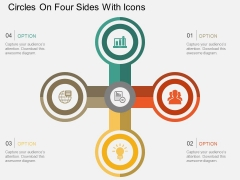 Circles On Four Sides With Icons Powerpoint Template