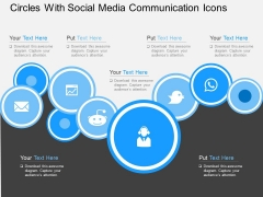 Circles With Social Media Communication Icons Powerpoint Templates