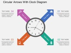 Circular Arrows With Clock Diagram PowerPoint Template