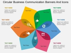 Circular Business Communication Banners And Icons Powerpoint Template
