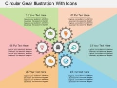Circular Gear Illustration With Icons Powerpoint Templates