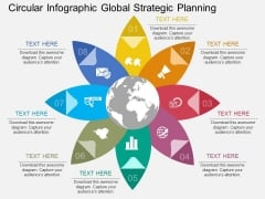 Circular Infographic Global Strategic Planning Powerpoint Template
