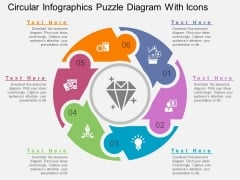 Circular Infographics Puzzle Diagram With Icons Powerpoint Template