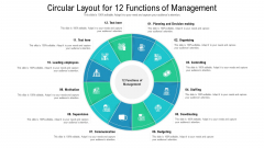 Circular Layout For 12 Functions Of Management Ppt Diagram Images PDF