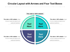 Circular Layout With Arrows And Four Text Boxes Ppt PowerPoint Presentation Layouts Themes PDF