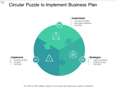 Circular Puzzle To Implement Business Plan Ppt PowerPoint Presentation Infographics Professional
