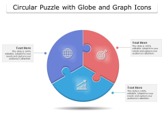 Circular Puzzle With Globe And Graph Icons Ppt PowerPoint Presentation Summary Styles PDF