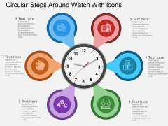 Circular Steps Around Watch With Icons Powerpoint Template