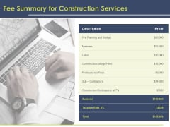 Civil Building Construction Proposal Fee Summary For Construction Services Inspiration PDF